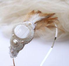 Wedding hair piece bridal headband white ivory with от Eniya, €46.00