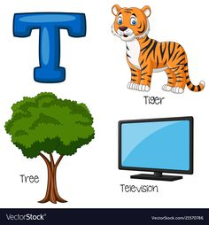 Illustration of T alphabet , Alphabet Words, Alphabet Pictures, Alphabet For Kids, Animal Alphabet, Bubble Alphabet, Deer Cartoon, Cartoon Elephant, Nursery Worksheets, Preschool Worksheets