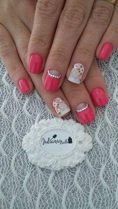 45 Fotos de Unhas decoradas com flores – Passo a passo Nail Art Tools, Nail Art Diy, Easy Nail Art, Diy Nails, Gorgeous Nails, Pretty Nails, Natural Nail Art, Diy Nail Designs, Nude Nails
