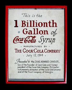 """Original framed Coca-Cola artist's drawn graphic presented by The Coca-Cola Company on July 12, 1944 to Charles Howard Candler on the occasion of Coca-Cola's """"1 Billionth Gallon of Coca-Cola Syrup."""""""