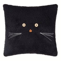 Black Kitty Cat Pillow with Button Eyes