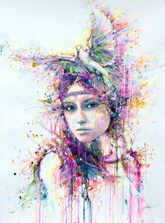 "Saatchi Art Artist: Lykke Steenbach Josephsen; paper 2012 Painting ""Dove"""