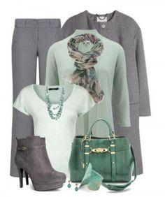 серый брюки и бледно-зеленый