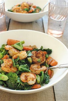 Seared Shrimp Vindaloo with Vegetables / Bev Cooks
