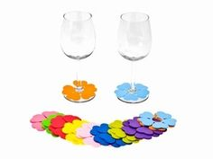 Present Time Foam Flower Multicolor Wine Glass Marker Set Includes 20 Markers Wine Glass Markers, Sewing Crafts, Diy Crafts, Foam Sheets, Wine Glass Charms, Practical Gifts, Gadgets And Gizmos, Spring Flowers, Party Time