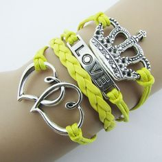 Yellow Leather Rope Tiara, Love and Heart Charms Fashion Bracelet