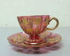 GORGEOUS 19th C.  MOSER CRANBERRY & GILT DECORATED ART GLASS CUP & SAUCER SET