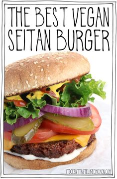 The Best Vegan Seitan Burger! Just 10 ingredients to make the best homemade burger patty ever. Juicy, chewy, meaty, and holds up on the grill! Seitan Recipes, Vegetarian Recipes, Best Vegan Burger Recipe, Vegetarian Meatballs, Hamburger Recipes, Vegetarian Cooking, Vegan Meals, Chicken Recipes, Hamburgers