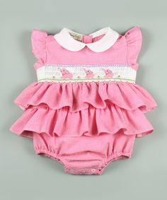 55a9e2f140 Classy Couture Pink Elephant Smocked Skirted Bodysuit - Infant