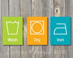 Laundry Symbols Printable for Laundry Room Instant Download - set of 3; 5x7; green, orange, blue