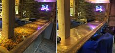 So we ordered copper sheets for the bar top. Ordered the patina on the left and decided we didn't like that. So I flipped it over (photo on the right) and the real copper look comes out. Since my wife works for a copper mining company and we live a few miles from one of the largest copper mines in the US, we decided to go with the copper side.