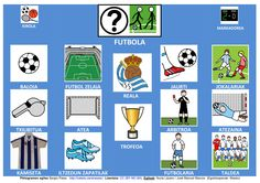 Futbol - Adaptación en euskera de Tablero de Comunicación ARASAAC.    Fotos: Google Imágenes; Pictogramas Arasaac  http://informaticaparaeducacionespecial.blogspot.fr/p/tableros-de-comunicacion.html