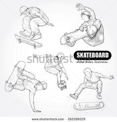 Skateboarding. drawing vector