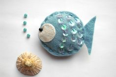 Felt Fish Brooch in Blue