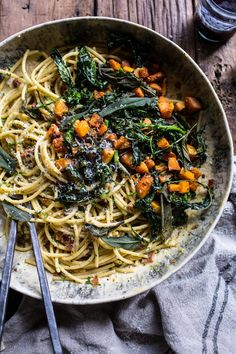 Winter Squash Carbonara with Broccoli Rabe and Sage | halfbakedharvest.com @hbharvest ​Sponsored by @EatBroccoliRabe. ​#BroccoliRabe