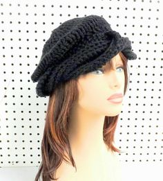 Black Crochet Hat Womens Hat Summer Hat for by strawberrycouture