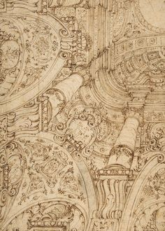 Ferdinando Galli Bibiena. Design for One-Quarter of a Ceiling-elaborate Architectural Ornament in Perspective.