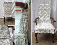 Two-Piece washable dining chair slipcover with button closure, tailored skirt and welt cord detailing. A Design collaboration by Weidner Hasou & Co and LS Slipcovers in Houston, TX.