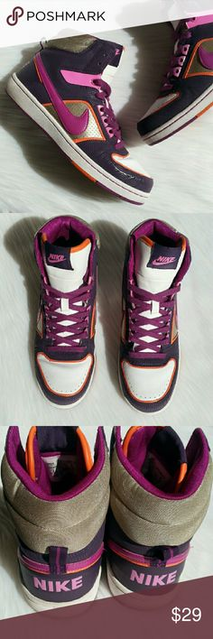 NIKE Hi-top Women's Athletic Tennis Shoes/Sneakers In great used condition! Comfortable athletic Women's Hi-top Nike Sneakers/Tennis Shoes. Purple, white, gold, and orange! Women's size 8. No rips, tears, or stains. Please use the offer button for all offers. Feel free to bundle for a great discount! No trades, ladies. Nike Shoes Athletic Shoes
