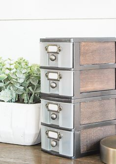 How to Get the Industrial Farmhouse Look with Dollar Tree Storage, DIY and Crafts, WOW, this transformation is unbelievable! Inexpensive Dollar Tree storage drawers get an impressive industrial farmhouse makeover! Dollar Store Hacks, 10 Dollar Store, Dollar Dollar, Dollar Tree Finds, Dollar Tree Decor, Dollar Tree Crafts, Industrial Farmhouse, Farmhouse Decor, Farmhouse Style