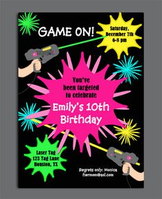 Printed laser tag birthday party ticket invitation boy or girl printed laser tag birthday party ticket invitation boy or girl theme custom laser tag party ticket invites pinterest laser tag birthday party tickets stopboris Choice Image