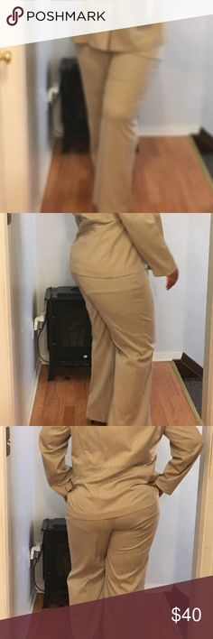 🔥🔥Tan Two Piece Suit Work Attire🔥🔥🔥 Tan Two Piece Work Attire Suit it's 78% Polyester, 19% Rayon and 3% Spandex. You have Lane Bryant Other