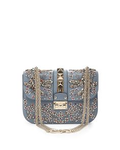 Red Valentino Crystal Small Lock Shoulder Bag, Ruby Gray, Women's