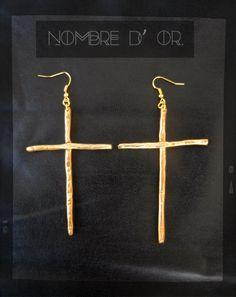 'Big Crosses' gold polymer clay earrings