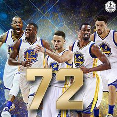 72!  The Golden State Warriors have tied the 1995-96 Chicago Bulls' record for the most wins in a season. 4/10/2016