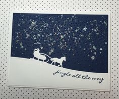 Starry night Christmas card made with Stampin' Up!'s Sleigh Ride Edgelits Dies and the Jingle All the Way stamp set, from the 2015 holiday catalog.