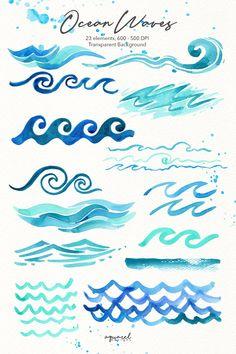 Ocean Wave Drawing, Wave Art, Wave Clipart, Art Journaling, Griffonnages Kawaii, Beach Invitations, Watercolor Ocean, Watercolor Paintings, Blog Website Design
