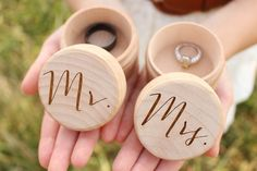 Mr. and Mrs. Rustic Round Ring Box Set  - Unfinished wood box - Laser engraved lettering  Cute ring keepsake boxes.!  Measurements: 2.25 round