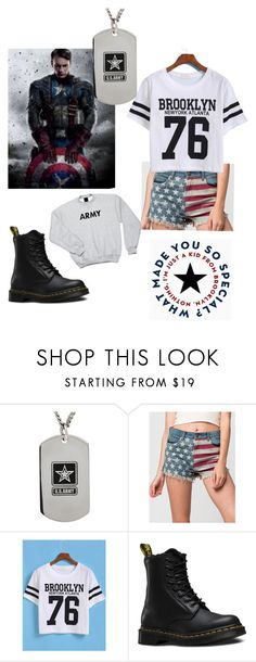 """""""Captain America - """"I'm just a kid from Brooklyn"""""""" by aseret-sarim ❤ liked on Polyvore featuring Others Follow, WithChic and Dr. Martens"""