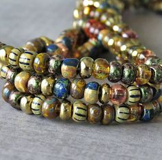 Rose Gold Picasso 6/0 Czech Glass Bead Aged Striped Picasso Seed Bead Mix : 10 inch Strand 6/0 Seed Bead Garden Medley