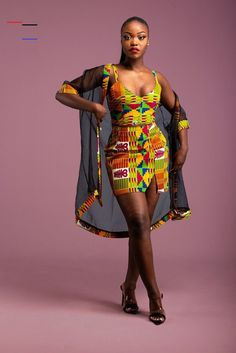african fashion Description: Step out in style in this matching full set. V- neck strap top, skirt with side slit and kimono full : Kente print & OrganzaCare instructions: Handwash co African Fashion Ankara, Latest African Fashion Dresses, Ghanaian Fashion, African Dresses For Women, African Print Fashion, African Attire, African Women, Africa Fashion, Moda Afro