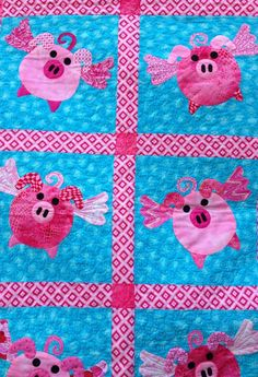 Appliqued Pink Flying Pigs Quilt or wallhanging by SomethingMoore. pig for mom's quilt