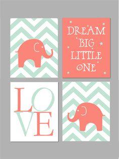 Mint and Coral Nursery. Baby Girl Nursery. Mint Nursery Decor. Dream Big Little…