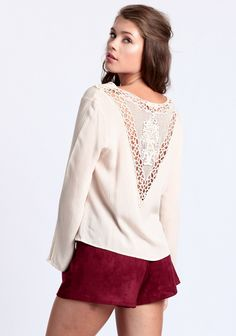 Fresh Take Lace Accent Blouse at #threadsence @threadsence