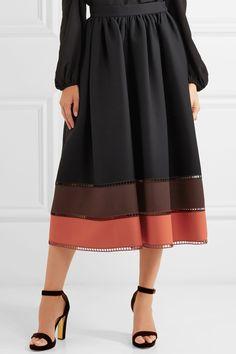 Fendi | Color-block wool and silk-blend gazar midi skirt | NET-A-PORTER.COM