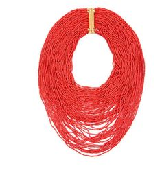 Add a pop of color with this standout seed-bead necklace from BCBG