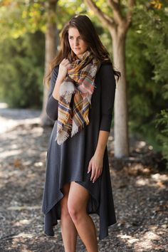 Heading Uptown Dress-Charcoal - Jane Divine Boutique