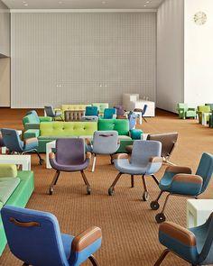 Ridisegno della North Delegates' Lounge alle Nazioni Unite. Design di Hella Jongerius e Rem Koolhas.