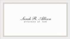 Simple and Elegant Attorney White With Border Template Business Cards http://www.zazzle.com/simple_and_elegant_attorney_white_with_border_business_card-240428765545689117?rf=238835258815790439&tc=GBCSimple1Pin