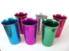 Retro, Vintage Dishes - Bascal Aluminum Cups, Set of 6 I have some aluminum tumblers. Very cool.