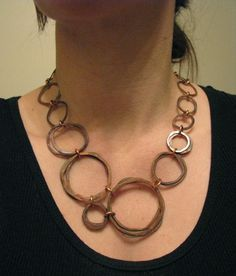 Copper necklace - Oxidized Copper - Stacked Bundles - Handmade in my studio