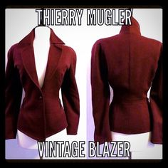 "Thierry Mugler Red Vintage Blazer Beautiful vintage Red Thierry Mugler blazer, size 38. Excellent condition, 100% wool❌❌This is a beautiful piece of Parisian Couture❌❌ french size 38 is US size 8. Measurement as follows:  Waist 14"" flat across,  Shoulder to hemline 25"",  underarm to underarm 17"" flat across Thierry Mugler Jackets & Coats Blazers"
