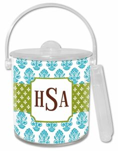 Beti Teal Personalized Lucite Ice Bucket & Tongs Set