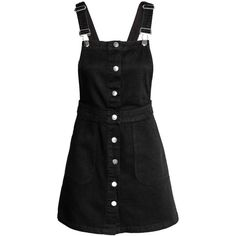 Denim Bib Overall Dress $34.99 found on Polyvore featuring dresses, h&m, overalls, black, vestidos and short overalls