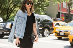 The NYFW Street-Style Looks That Truly Stunned #refinery29  http://www.refinery29.com/2014/09/73987/new-york-fashion-week-2014-street-style-photos#slide17  Naomi Nevitt keeps her denim jacket close (but not too close).