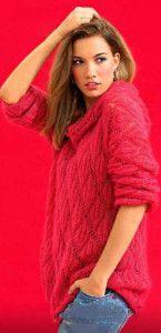 Красный мохеровый пуловер с капюшоном